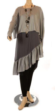 801f22df632 Hebbeding Grey Akita Shiny Wide Overlay Top Funky Shirts