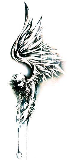 Angel Fish by milestsang on DeviantArt Tattoo Tribal, Raven Tattoo, Sketch Tattoo Design, Tattoo Sketches, Celtic Tattoos, New Tattoos, Wing Tattoos, Fallen Angel Tattoo, Archangel Tattoo