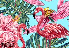 Seamless Self Adhesive Tropical Flamingo Flowers Pattern Wallpaper - Removable Wall Decals - Flamingo Palm Wall Sticker - Tropical Wallpaper by WallHalla on Etsy https://www.etsy.com/listing/468724411/seamless-self-adhesive-tropical-flamingo