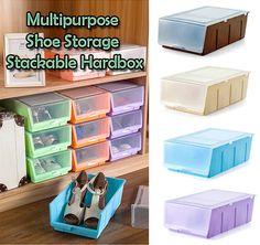 [S$4.90]Stackable Storage Shoe HardBox - Multifunctional - Best Idea Home Organization Lightweight Box - for Kitchen、Living Room、Washroom N Bedroom / Easy Hand Carry