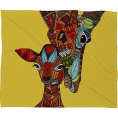 Sharon Turner Giraffe Love Ochre Fleece Throw Blanket   DENY Designs Home Accessories #giraffe #love #mother #baby #animal #blanket #yellow #fleece #nursery #tribal #sharonturner #deny #denydesigns other products available! 10% off with code: sharonturner