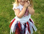 Red, white & blue Scrap Tutu WITH matching clip or headband