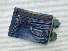 Denim makeup cosmetic bag clutch zipper pouch case by BukiBuki