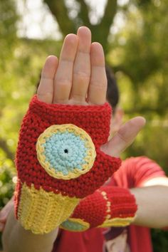 Crocheted Iron Man Fingerless Gloves