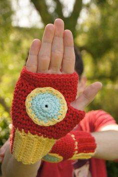Free Crocheted Iron Man Fingerless Gloves Pattern