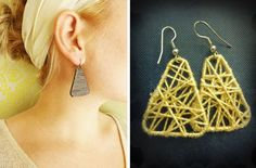 DIY Paperclip earrings with string and paperclips