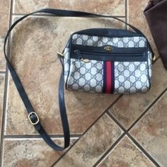 AUTHENTIC GUCCI monogram cross body canvas 1980's Great condition! Minor wear/scuffing of interior lining. General leather aging. Authentic. Gucci Bags