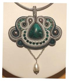 """""""Malachit handmade soutache pendant with Swarovski Elements"""" by lubavdcraat on Polyvore featuring mode"""