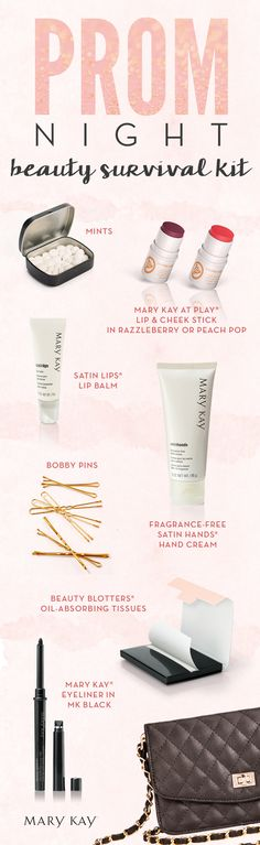 Prom night is upon us! Make sure you are ready for makeup touchups with a purse-perfect beauty survival kit including Mary Kay At Play® Lip & Cheek Stick in Peach Pop.