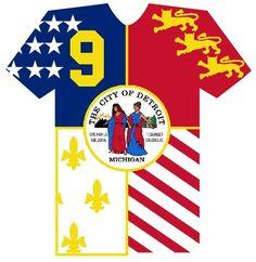 Detroit city flag jersey t-shirt.