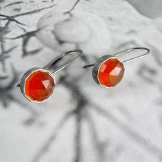 Carnelian Earrings in Sterling Silver (with patina). $145.00, via Etsy.