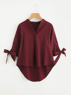 SheIn offers Tie Cuff Dip Hem Blouse & more to fit your fashionable needs. Cute Summer Shirts, Summer Tops, Plain Shirts, Shirts & Tops, Bow Shirts, Shirt Blouses, Hijab Fashion, Fashion Outfits, Lolita Fashion