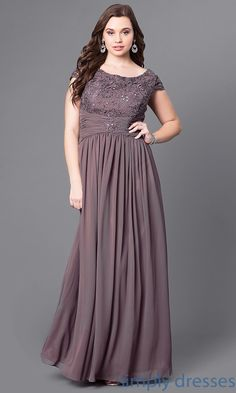 Lace-Bodice Cap-Sleeve Plus-Size Long Formal Dress Plus Size Formal Dresses dbca8662da99