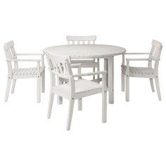 ÄNGSÖ Tafel en 4 armleunstoelen - wit - IKEA