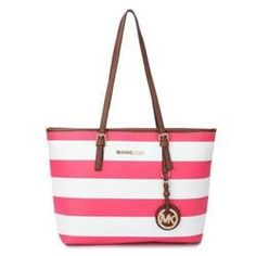 Michael Kors Jet Set Striped Travel Large Pink White Totes