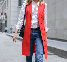 Red Vest, Frayed Hem Jeans and Memorial Day Sales! Workwear Fashion, Nyc Fashion, Work Fashion, Autumn Fashion, Fashion Outfits, Red Vest, Red Blazer, Classic Work Outfits, Memorial Day Sales