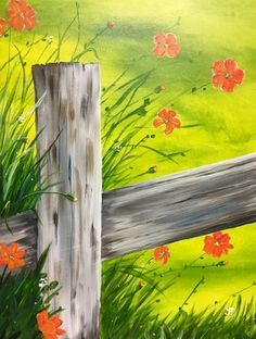 Never seen a painting of a POST more realistic!Spring in Bloom at Castello Restaurant - Paint Nite Events near Danbury, CT> Kids Canvas Art, Easy Canvas Painting, Summer Painting, Easy Paintings, Painting & Drawing, Canvas Ideas, Acrylic Painting For Beginners, Wine And Canvas, Learn To Paint