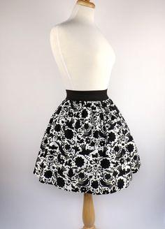 Black and White Doves Skirt / Mexican Dove Skirt by VintageGaleria, $39.95