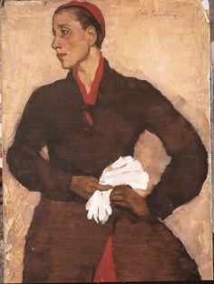 Lotte Laserstein's Traute Rose with white gloves (around 1931)