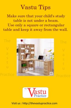 Make sure that your child's study table is not under a beam. Use only a square or rectangular table and keep it away from the wall. There should be space all around the table for energy to flow. Study Table Designs, Study Room Design, Interior Design Living Room, Kids Study Table Ideas, Study Tables, Interior Designing, Feng Shui And Vastu, Feng Shui Tips, Home Design