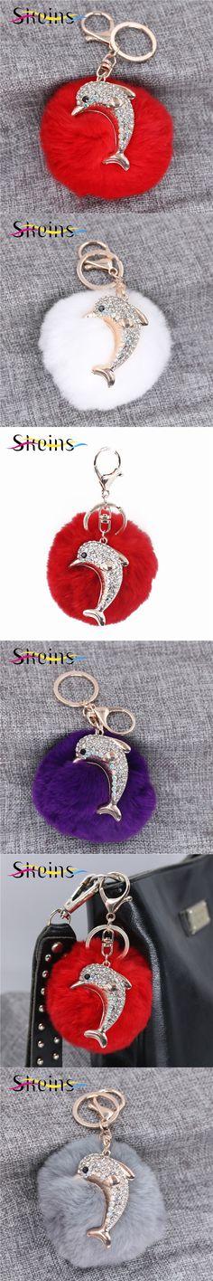 Korea Plush Fur Ball Keychain Car Pendant Ornaments Animal Dolphin Fashion Lady Bag Accessories