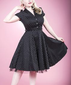 Black  White Small Dot Shirt Dress