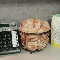 Himalayan salt rock lamp for the cubicle! Keep your workplace low stress.
