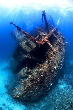 Shipwreck, Red Sea --Wreck of the Giannis D., sunk after hitting a submerged reef in the northern Red Sea, Egypt. Everyone escaped alive. Bottom Of The Ocean, Under The Sea, Abandoned Ships, Abandoned Places, World Images, Red Sea, Scuba Diving, Beautiful Images, Underwater Photography