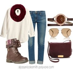 """Casual Outfit with Burgundy Infinity Scarf, Wrap Watch, and Combat Boots"" by alyssanicolesmith on Polyvore"