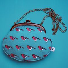 Bullfinch Handbag  #handbag #acessories #fashion #purse #bird #chickadee #blue #teal #turquoise #aquamarine   #divabara #design Teal, Turquoise, Bullfinch, Brass Chain, Saddle Bags, Fabric Design, Hand Sewing, Eye Candy, Diva