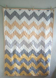 Yellow and Grey Zig Zag Quilt for modern nursery