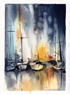 Sailboats Painting Original Watercolor Painting by CanotStop