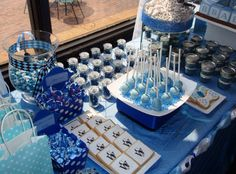 Blue baby shower candy station by Southern Event Planners in Memphis, TN