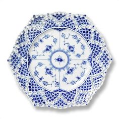 "1  Royal Copenhagen Blue Fluted Full Lace 8.25"" Plate"
