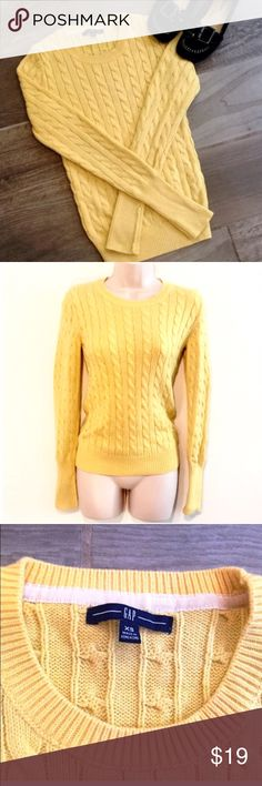 """💎 GAP rabbit hair yellow cable knit sweater Gorgeous yellow color! Rabbit hair blend- so soft! Measures approx 25"""" long, 22"""" arm length, & 15"""" flat across chest. Size XS but could fit a small. Excellent condition! 🔴Bundle to save! 🔴NO TRADES, no modeling. 🔴REASONABLE offers welcome via offer button. GAP Sweaters Crew & Scoop Necks"""