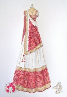 Pink and white bridal designer lehenga. Indian Fashion and Clothing. Pink and white bridal designer lehenga. Indian Fashion and Clothing. Wedding Dress Sketches, Dress Design Sketches, Fashion Design Drawings, Vintage Fashion Sketches, Drawing Sketches, Fashion Drawing Dresses, Fashion Illustration Dresses, Asian Fashion, Fashion Art