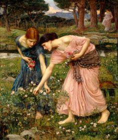 Pre-Raphaelite Arthurian Paintings | Gather Ye Rosebuds While Ye May - 1909