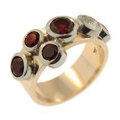 Rose & White Gold Garnet & Clear Quartz Ring, handmade at Cameron Jewellery by Peter Cameron Quartz Ring, Clear Quartz, Garnet, White Gold, Jewellery, Gemstones, Rose, Winter, Rings