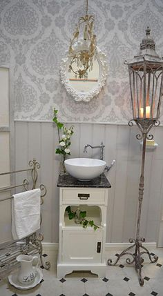 Guest washbasins and small vanity units for a comfortable bathroom - Landha . - Guest washbasins and small vanities for a comfortable bathroom – country house, nostalgia, vintag - Shabby Chic Kitchen, Shabby Chic Homes, Shabby Chic Decor, Small Vanity Unit, Vanity Units, Tiny Powder Rooms, Cozy Bathroom, Bathroom Colors, Shabby Chic Zimmer