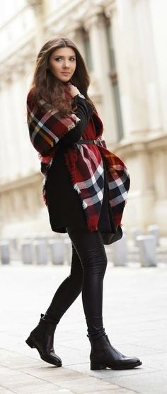 Tartan Scarf | Fashion tips| Belted scarf | Coat | Black belt | Combos to try this fall | winter | Scarves | Jackets | Hats | Belts | Cardigans | Blanket scarf