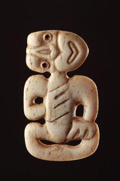 Carved Whalebone Hei-Tiki Pendant  1800 to 1900  New Zealand