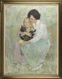 Oil portrait of Rosalynn Carter and daughter Amy by Thornton Utz