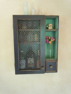 Cabinet- Rustic Wall Cabinet with Ornate Sheet Metal Door