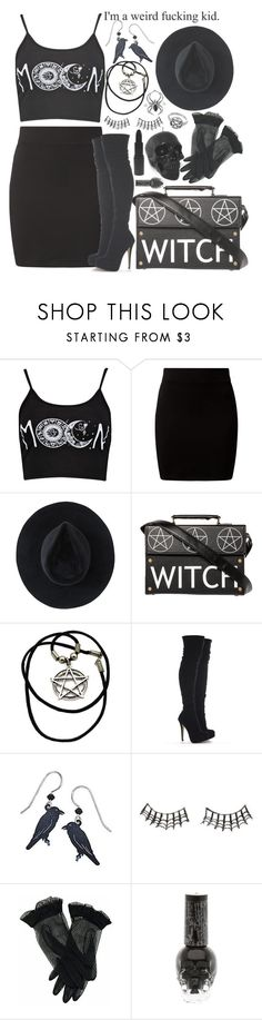 """Modern Witch/Black Outfit"" by drunk-inlove ❤ liked on Polyvore featuring New Look, Ryan Roche, Raven Denim, Charlotte Russe, MAKE UP STORE and modern"
