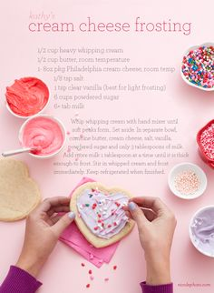 Frosting for the sugar cookies! Click the photo for the cookie recipe. Valentine's Day
