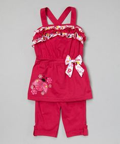 This Fuchsia Ladybug Ruffle Tunic & Capris - Infant, Toddler & Girls by G&J Relations is perfect! #zulilyfinds
