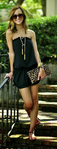 Stlye Me Hip: Black Ruffle Top Romper with Lepord Clutch Purse |...