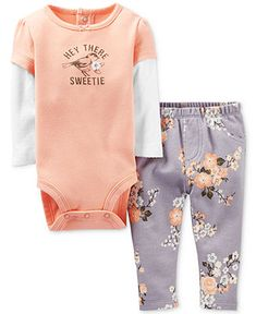 Carter's Baby Girls' 2-Piece Floral Bodysuit & Pants Set - Kids Baby Girl (0-24 months) - Macy's