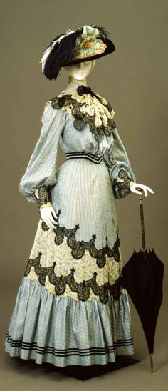 Lace Trimmed Walking Dress, ca. 1904-05 via Europeana Fashion.