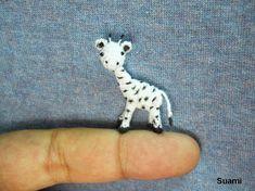 White Standing Giraffe  Micro Crochet Miniature Animals  by suami